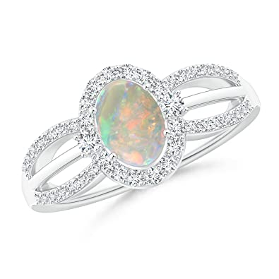 Angara Floating Cabochon Opal and Diamond Halo Antique Style Ring 5sn2y0ZX