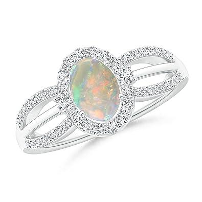 Angara Floating Diamond Halo Cabochon Opal Split Shank Ring in Platinum mPcoAHLIO