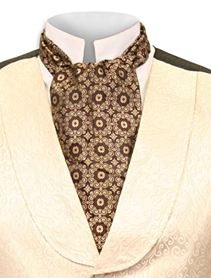 Steampunk Clothing- Men's Historical Emporium Mens Satin Medallion Ascot $25.95 AT vintagedancer.com
