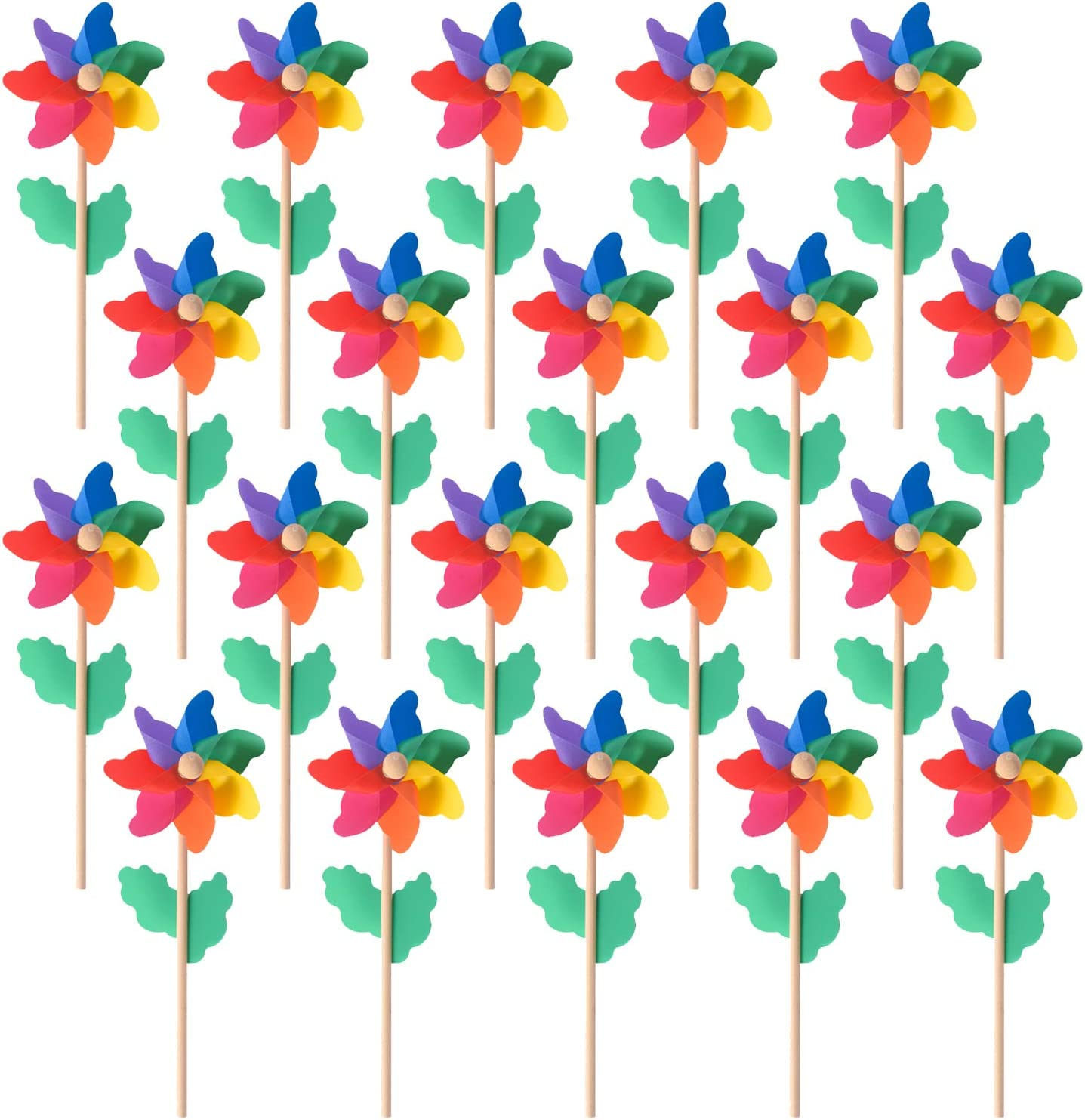 "Jucoan 20 Pack Rainbow Pinwheels with Wooden Stick 4.7"" Plastic Windmill Set Wind Spinner for Garden Party, Outdoor, Yard Decoration, No Assemble"