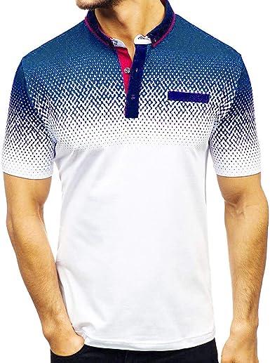 Moda Camisa Casual, Camiseta Hombre Basica, Camisa De Manga Corta con Solapa De Degradado De Rayas Graduadas para Hombres: Amazon.es: Ropa y accesorios