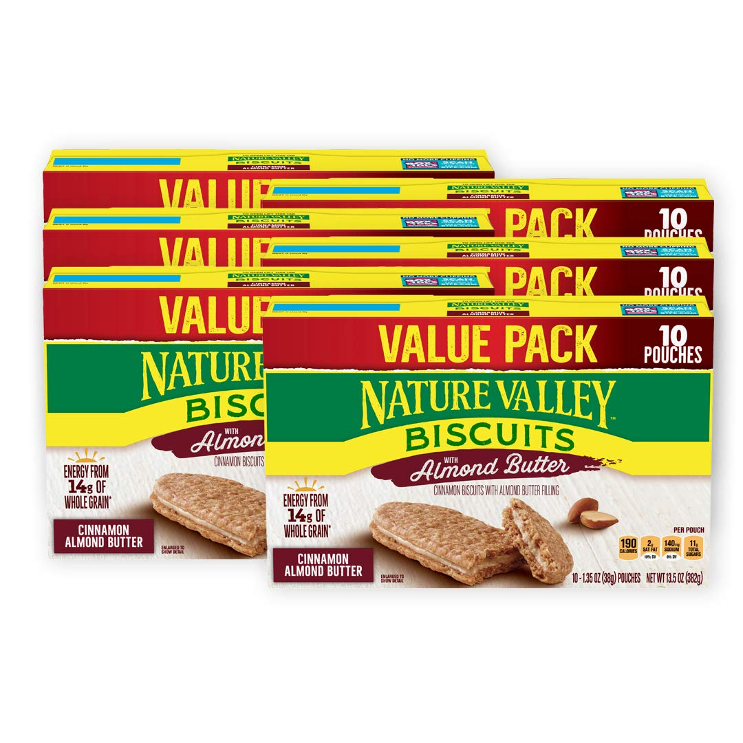 Nature Valley Biscuits, Almond Butter Breakfast Biscuits w/ Nut Filling,10 Ct, 6 Boxes