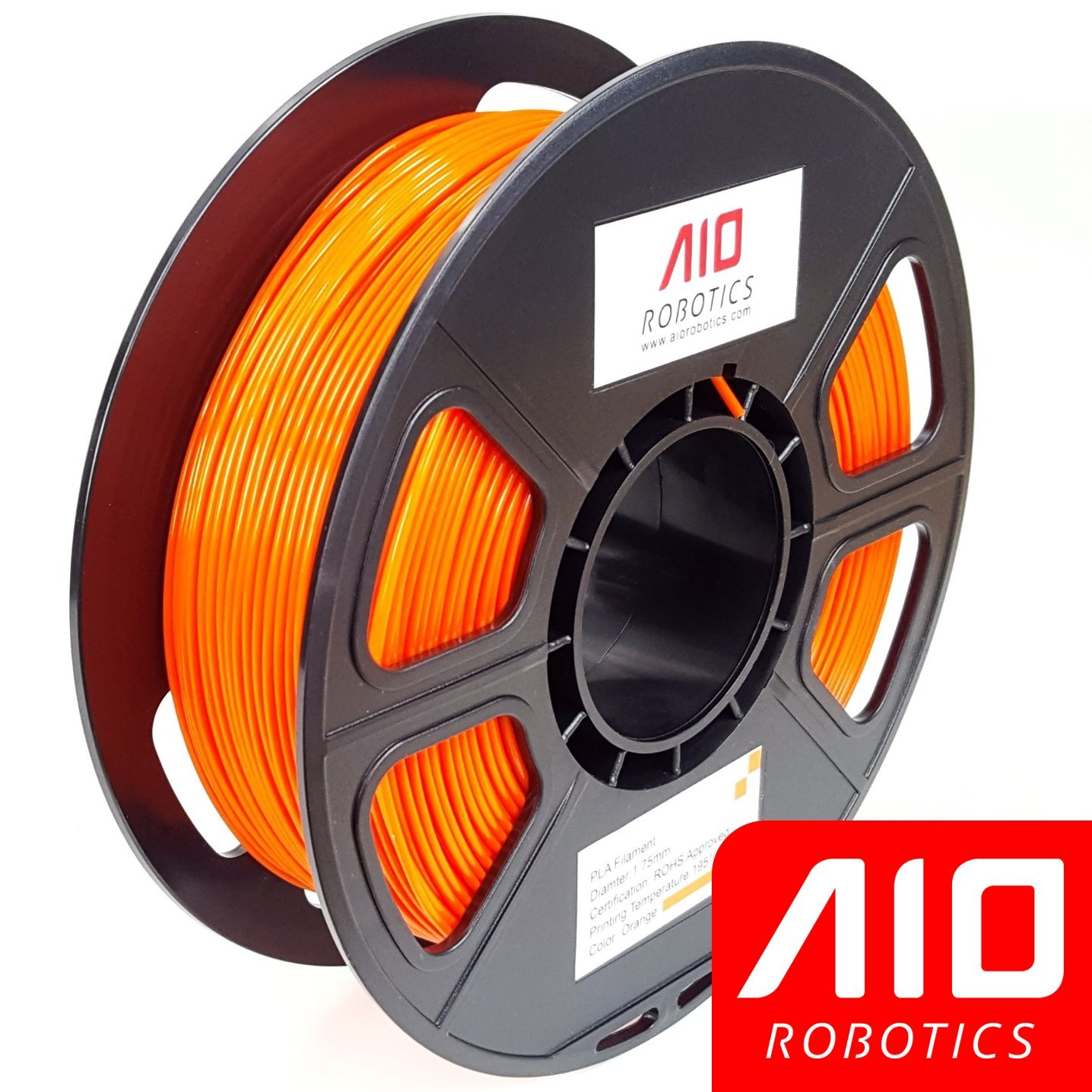AIO Robotics AIOORANGE PLA 3D Printer Filament, 0.5 kg Spool, Dimensional Accuracy +/- 0.02 mm, 1.75 mm, Orange