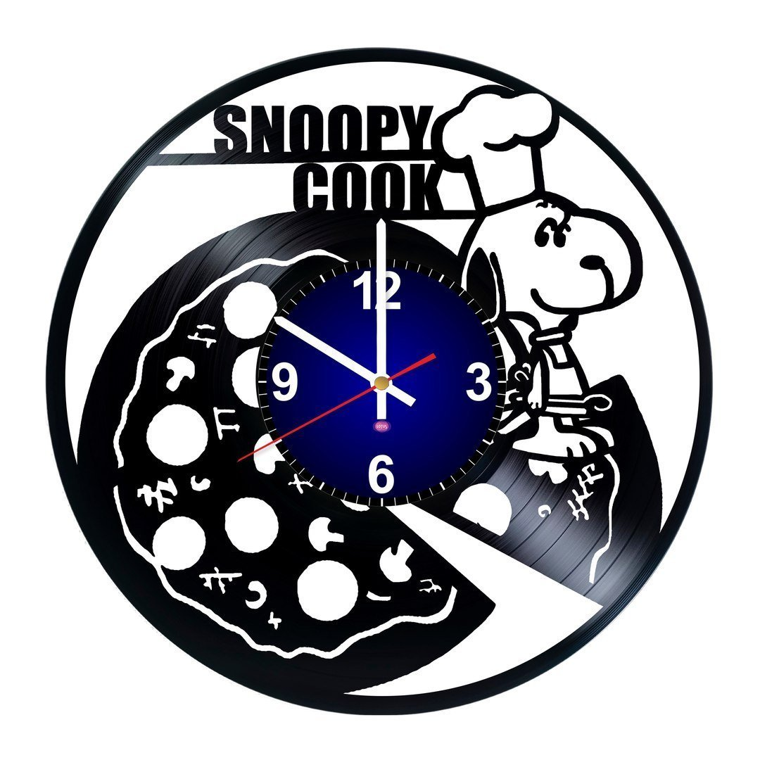 Lotus Clocks Snoopy Cook - Best Present For Kids - Art Vinyl Record Wall Clock - Nursery Decor