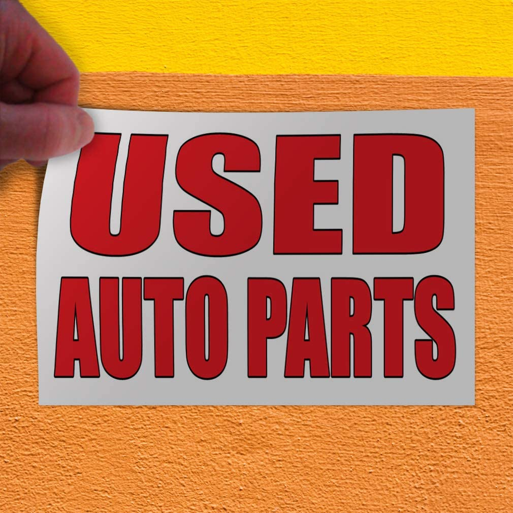 Decal Sticker Multiple Sizes Used Auto Parts Auto Body Shop Car Repair Automotive Second Hand Parts Outdoor Store Sign Red 54inx36in Set of 2