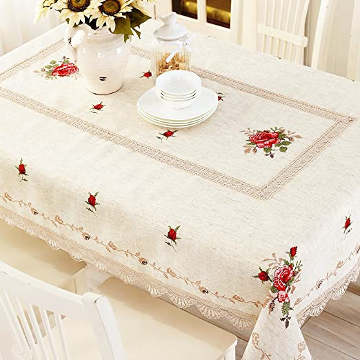 Amazon.com: modern Chinese table-cloth/Garden cross stitch Embroidery table cloth/ table cloth/ table cloth/ table cloth/ linen rectangular small ...