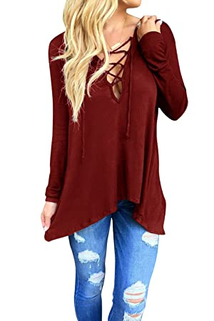 Women Lace Up V-Neck Cross Front Long Sleeve Shirt Tops Blouse Wine Red L