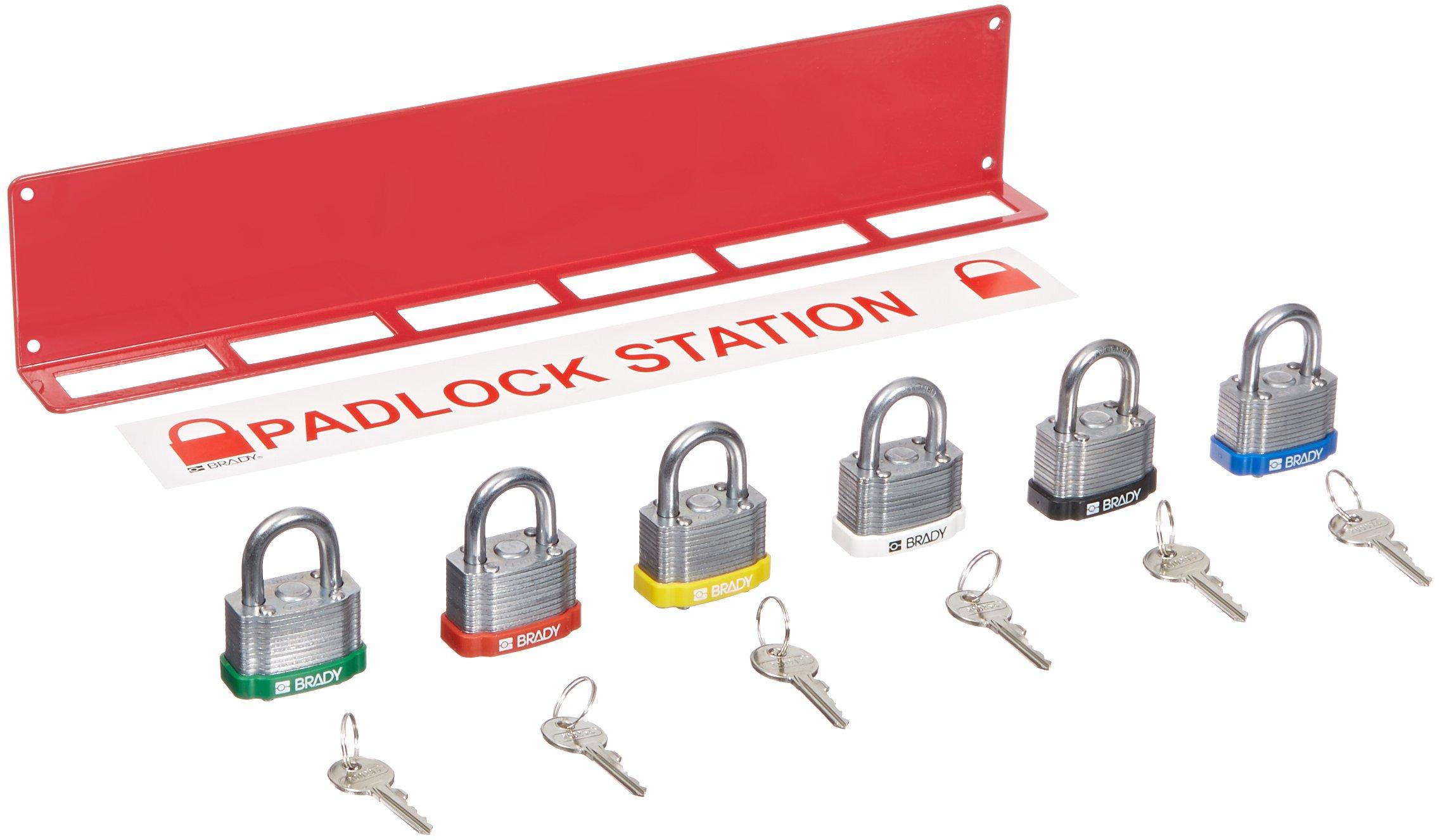 Brady LR361E Prinzing steel PadLock rack & Locks (1 Each)