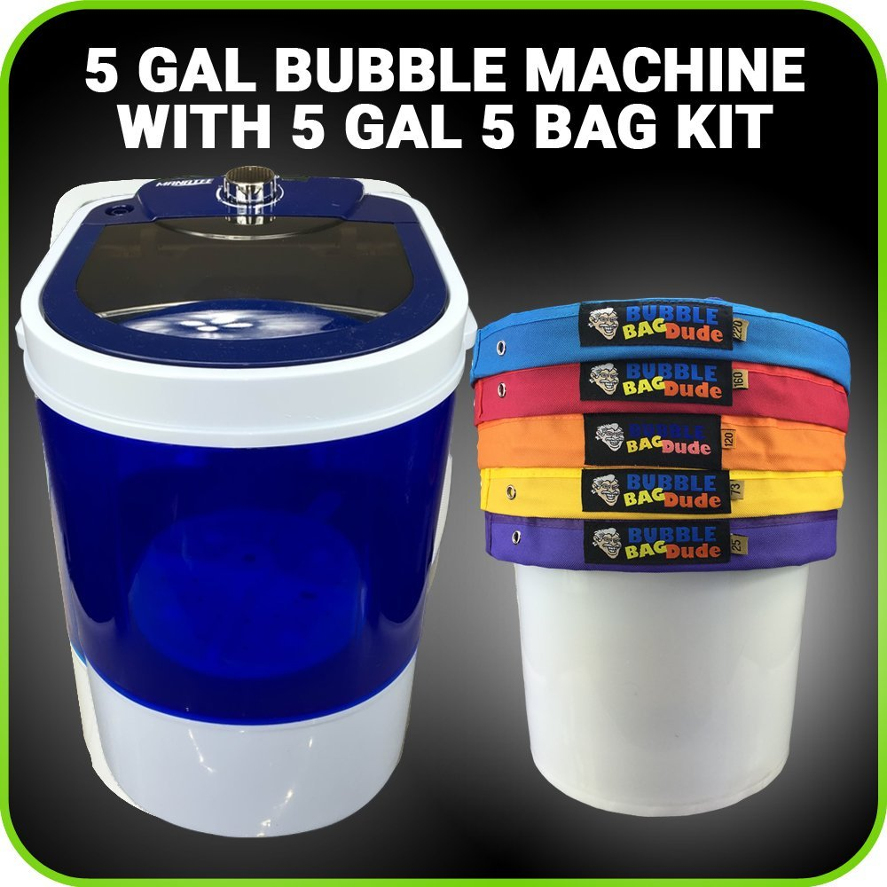 Bubble Bag Machine 5 Gallon 5 Bag Ice Mixing Kit - 5 Gallon Portable Mini Washing - Extracting System for Herbal Essence - With 220 Micron Zipper Bag, Pressing Screen and Storage Bag by BUBBLEBAGDUDE