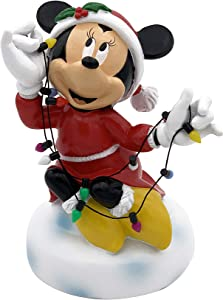 The Galway Company Disney Minnie Mouse Garden Statue Wrapped in Christmas String Lights, Stands 6 Inches Tall and 4 Inches Wide