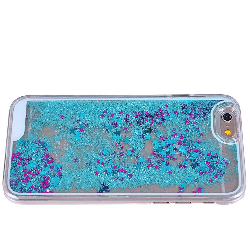 Yoption Transparent Plastic 3D Glitter Quicksand and Star Liquid Case for Apple iPhone 6 Iphone 6s 4.7 (Blue#2)