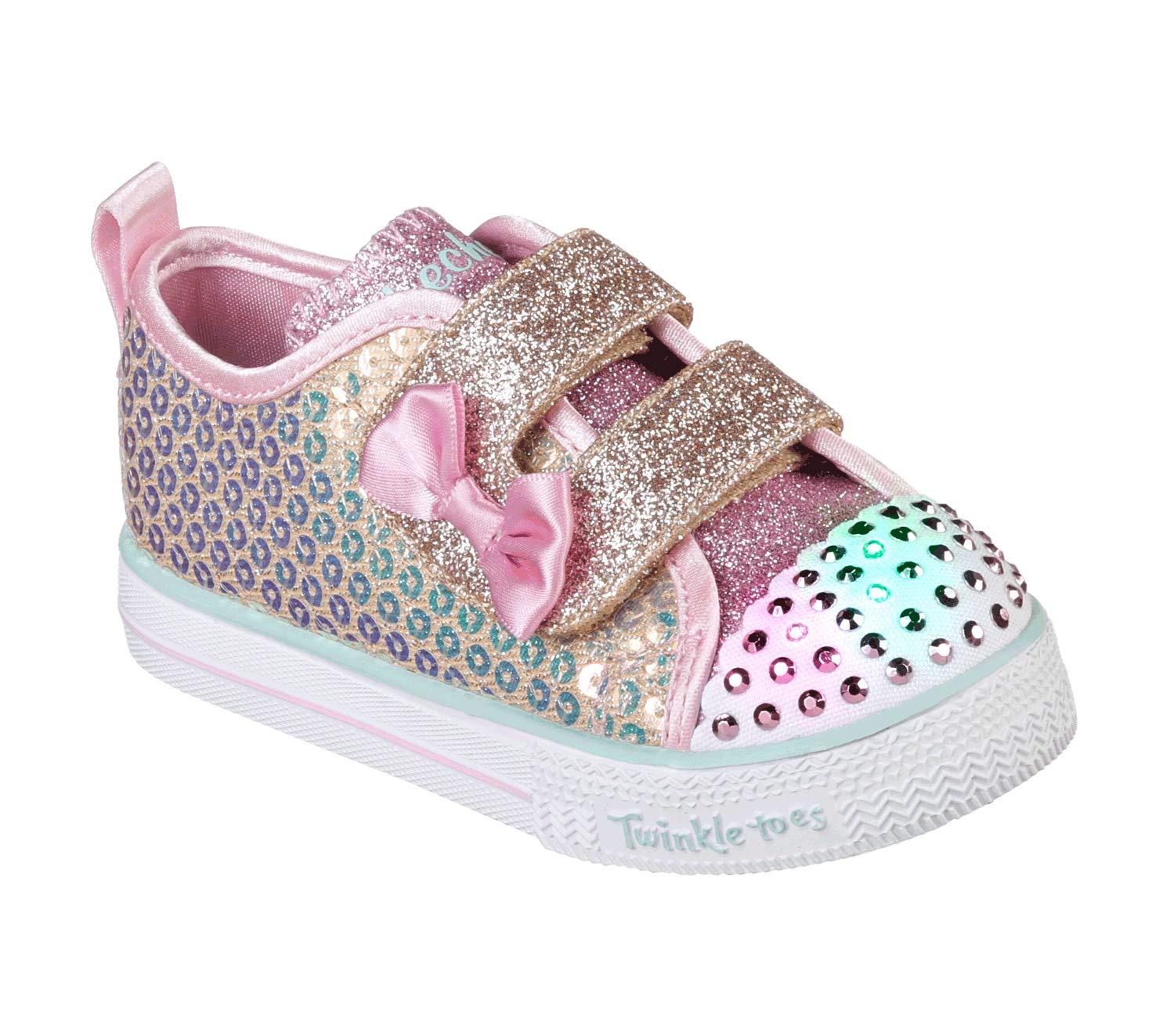 Skechers Kids Girls' Shuffle LITE-Mini Mermaid Sneaker Gold 9.5 Medium US Toddler