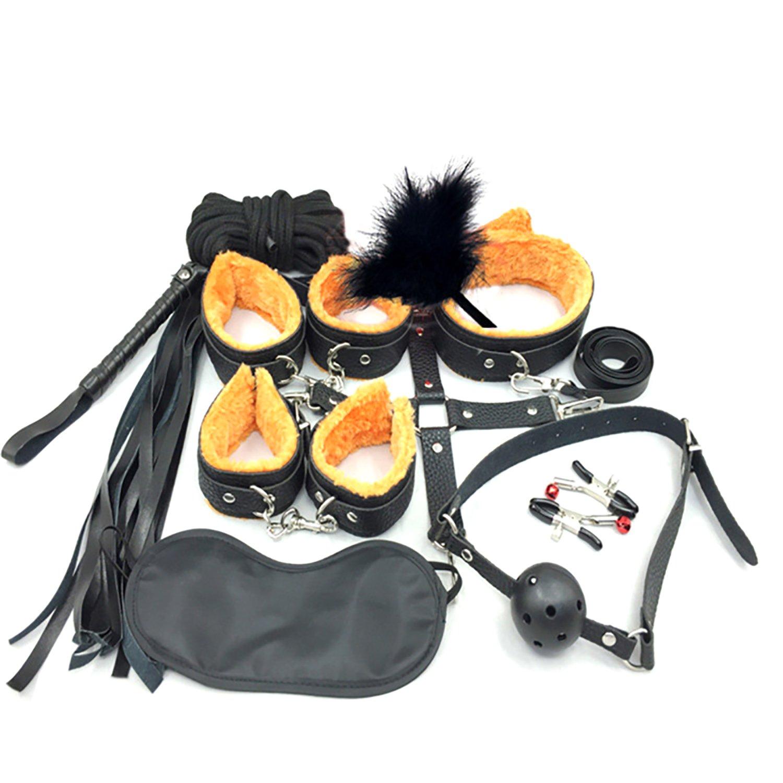 Aopori 10PCS Cosplay Emo Gothic Costume Set Novelty Exotic Apparel Women Men Love Plush (BlackYellow)