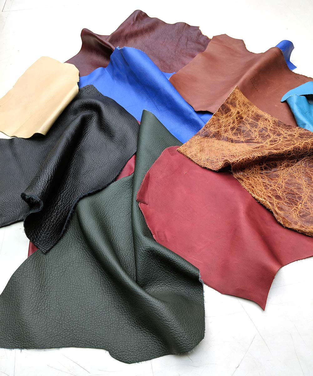 Leather Scraps Upholstery Leather (2 lbs) Premium Assorted Leather Pieces for Crafts Leather Hide Store