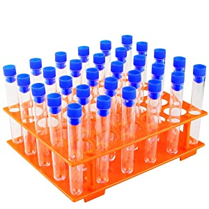 UPlama 50 Pack Clear Plastic Test Tubes with Blue Caps,16x100mm Test Tube Holder Set with Caps and 1 Pack Orange Plastic Test Tube Rack for Science Experiment Party Decoration Birthday Party