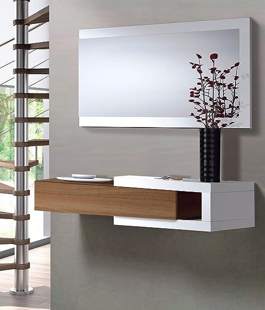 Mueble de entrada recibidor Salon Comedor Sala Oficina Color Nogal ...