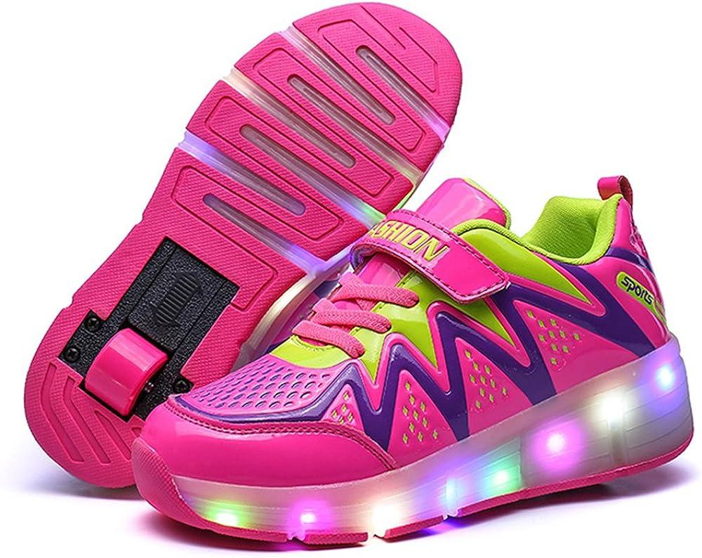 24XOmx55S99 Single Wheel Glowing Sneakers LED Light Roller Skate Shoes Boys Girls Little Kids//Big Kids