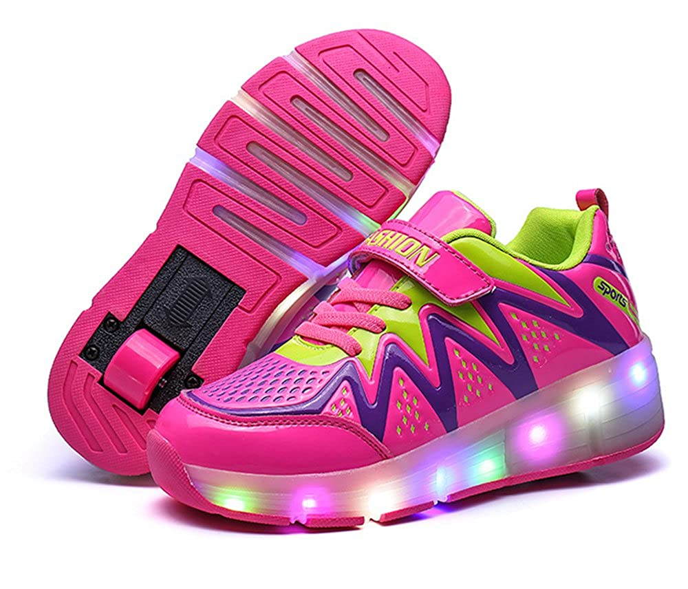 A2kmsmss5a Unisex Boys Girls LED Lighting Single Wheel/Double wheels Roller Skate Sneakers for Kids Gift