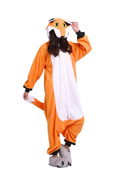 YUWELL Onesie Kigurumi Pijamas Unisex Cosplay Animales Pyjamas Halloween Navidad, Zorro S (Height: