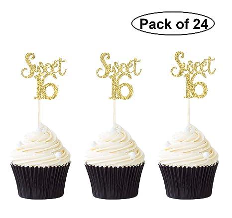 Pack de 24 adornos para cupcakes con purpurina dorada para ...