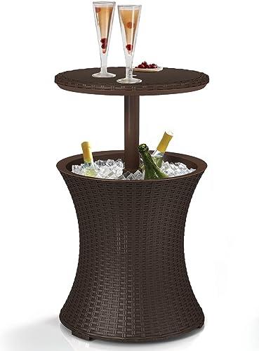 Keter 7.5-Gal Cool Bar Rattan Style Outdoor Patio Pool Cooler Table, Brown Renewed