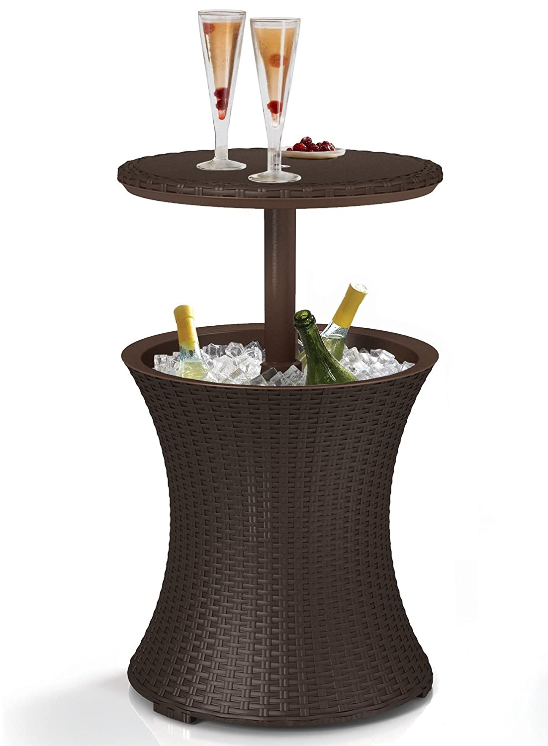 Keter 7.5-Gal Cool Bar Rattan Style Outdoor Patio Pool Cooler Table, Brown Renewed