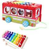Xylophone Bus for Kids, Baby or Toddler - Premium Wood Educational Musical Instrument by Xylofun
