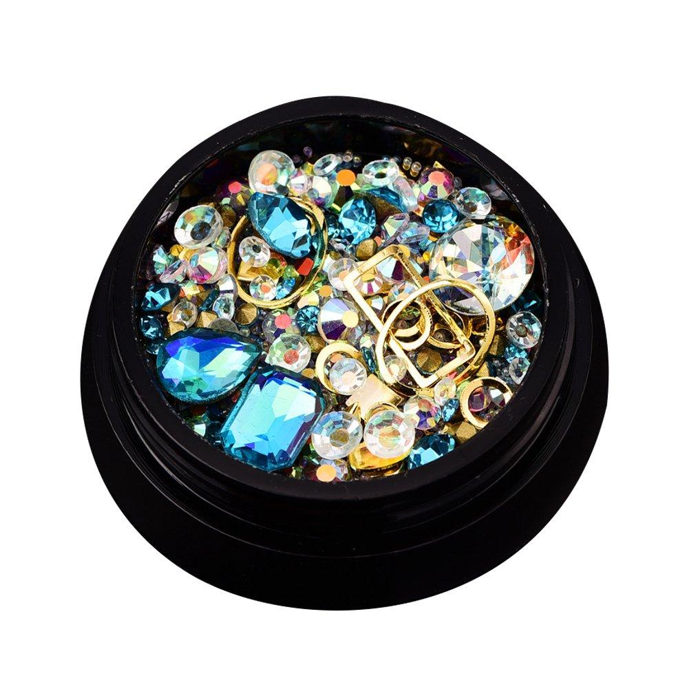 rocita strass d'ongle 3d, cristal d'ongle, Rhinestone de acrylique UV Gel Décoration Bijoux Pour ongle naturel et artificiel clous (Bleu léger) rocita strass d' ongle 3d cristal d' ongle