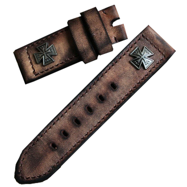 Retro Mosaik Nieten handgefertigt echtes Leder Armbanduhr Band 26 mm lang Uhrenarmband Leder braun
