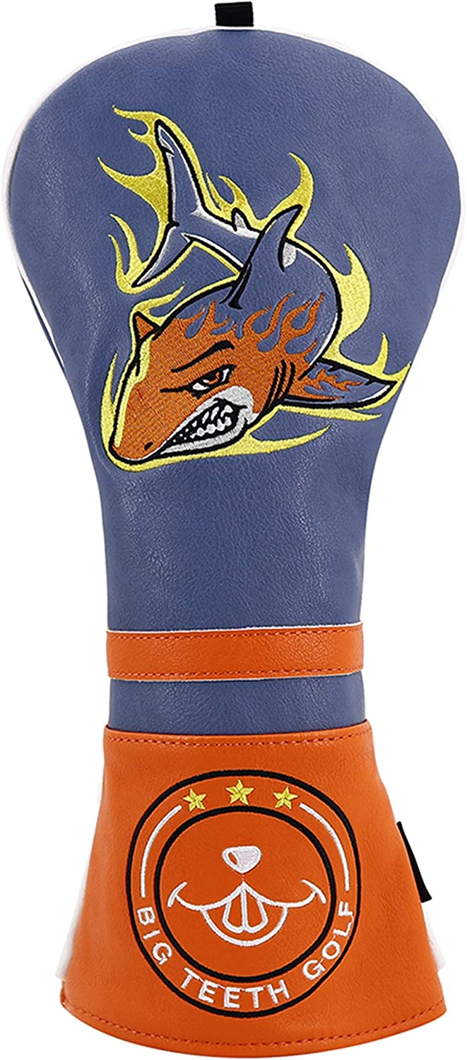 Big Teeth Golf Head Covers Driver Headcover 460cc #1 Golf Club Protector PU Leather for Taylormade Titleist