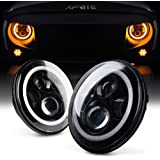 """Xprite 7"""" Inch LED Halo Headlights for Jeep Wrangler JK TJ LJ 1997-2018(DOT Approved), CREE LED Chip, 80W 9600 Lumens Hi/Lo Beam with Halo Ring Angel Eyes DRL"""