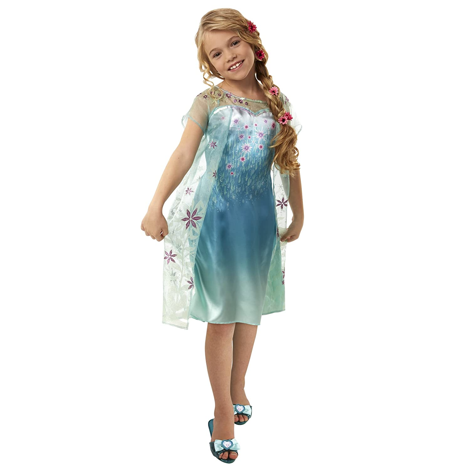 Buy Frozen Floral Printed Disney Princess Elsa Dress (Blue) Online ...