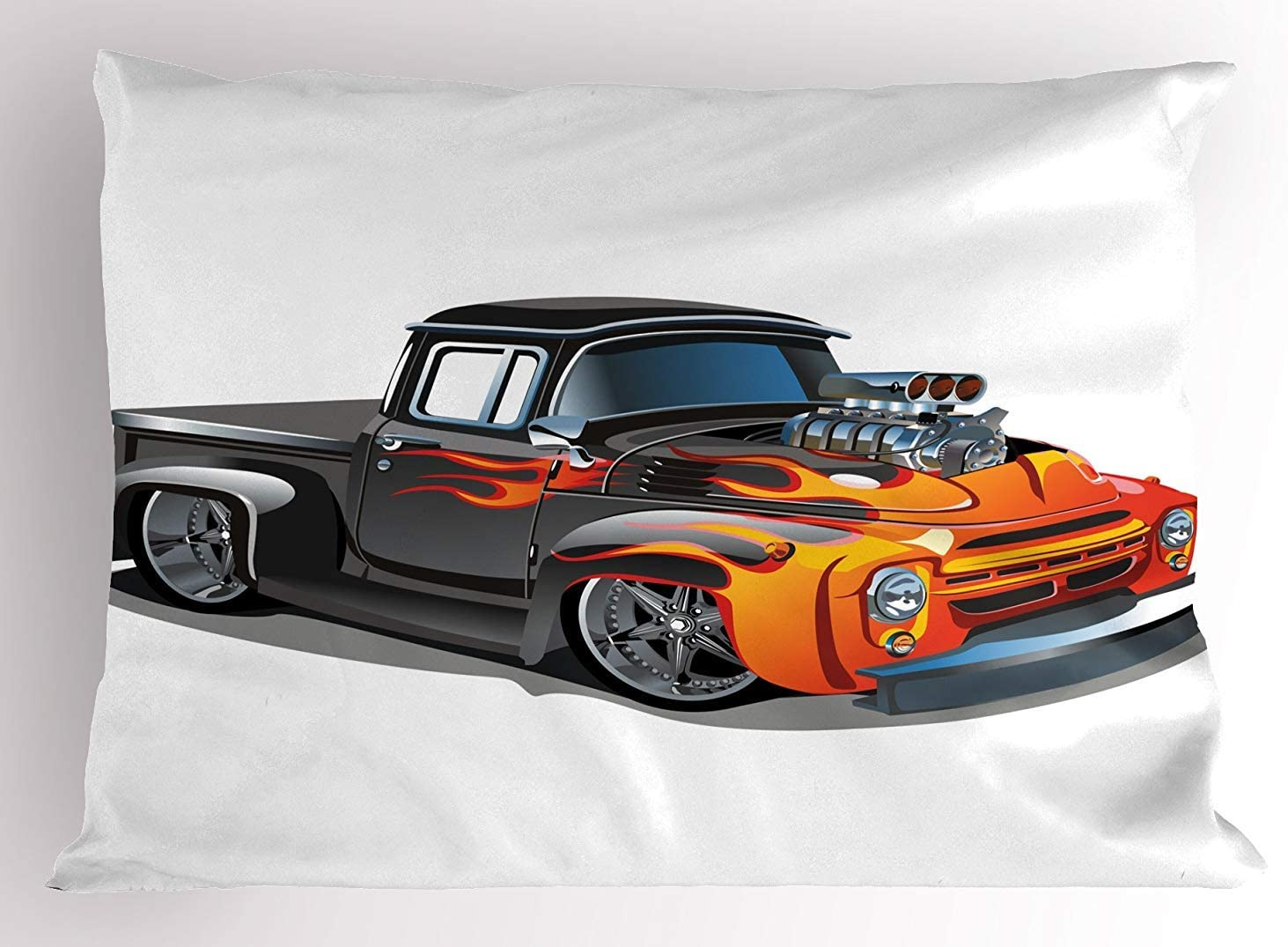 30 X 20 inches Orange Black K0k2t0 Manly Pillow Sham Cartoon Hot-Rod Truck Antique Old Model Automobile Transport Nostalgia Illustration Decorative Standard Queen Size Printed Pillowcase