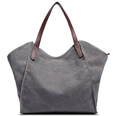 Women Handbag Canvas Large Capacity Shoulder Bag Satchel School Work Travel  and Shopping Ladies Tote Purses 4c5427a459