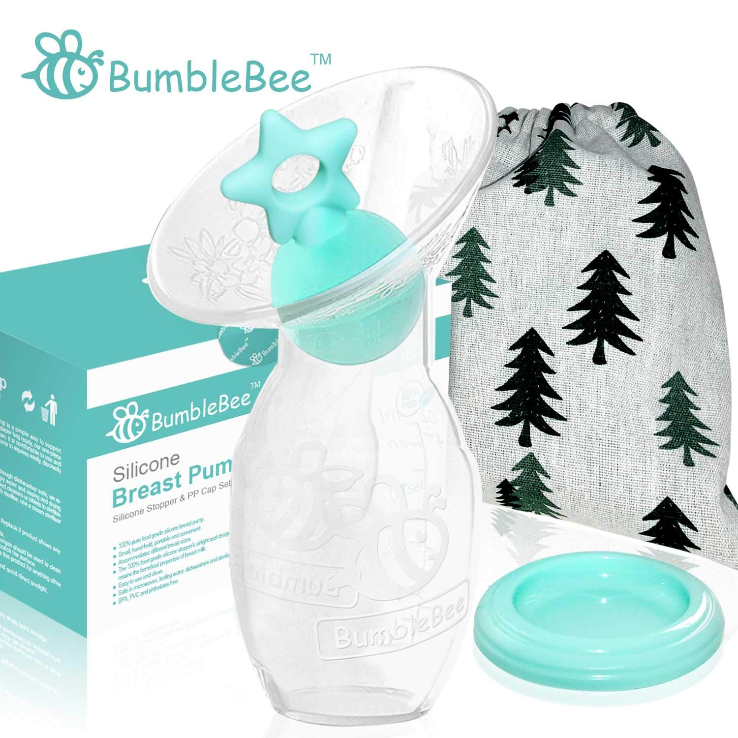 Bumblebee Manual Silicone Breast Pump Breastfeeding Collection Milk Pump Pink Heart Shape Silicone Stopper with lid in Gift Box bpa Free /&Food Grade Silicone Breast Pump