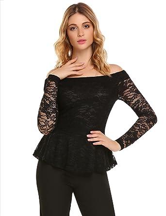 e88b26a200d44 Zeagoo Women s Floral Lace Off Shoulder Twin Set Top Shirt Flared Peplum  Slim Blouse Black S