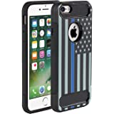 iPhone 7 Case,iPhone 8 Case,Rossy [Carbon Fiber] Shockproof Hybrid Dual Layer Armor Defender Protective Case Cover for Apple iPhone 7(2016)/iPhone 8(2017),Thin Blue Line US Flag