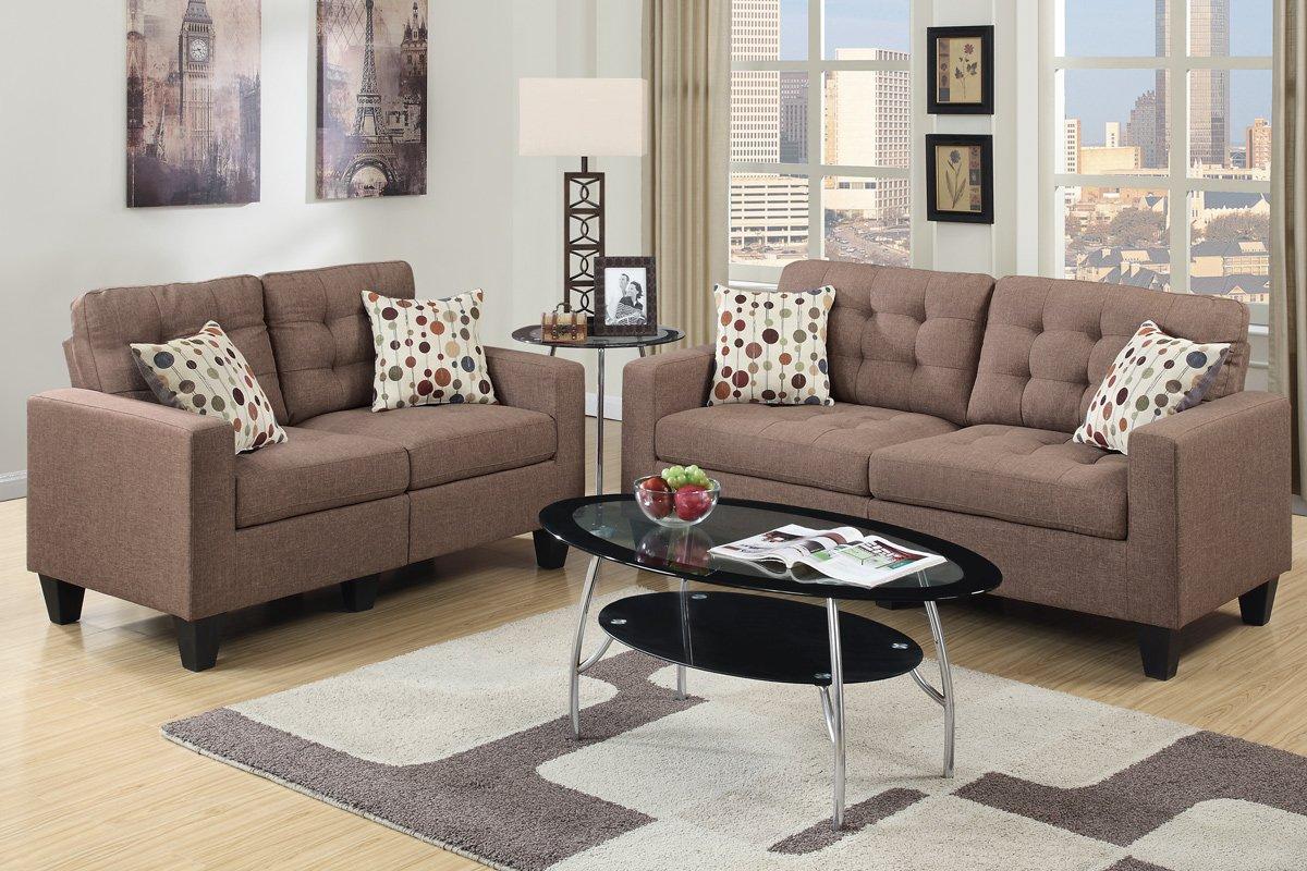 Amazon Com Poundex Bobkona Windsor Linen Like Piece Sofa