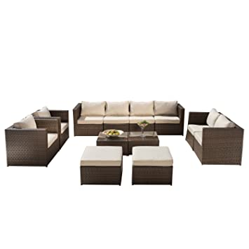 Supernova 12 Piece All Weather Rattan Wicker Sectional Outdoor Garden Patio  Furniture Set, Brown