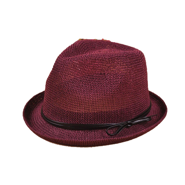 Travel Casual Linen Bowknot Jazz Hat Spring Summer Women Beach Sun Belt Straw Hats 7 Colors,red Wine