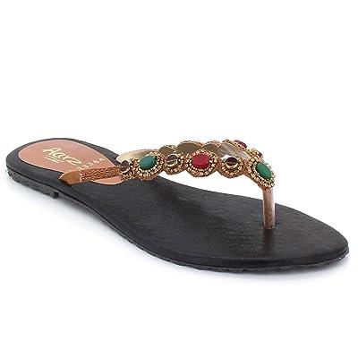 f1ff823541f96e AARZ LONDON Femmes Dames Gems Diamante Toe-Post Été Décontractée Confort  Glisser sur Poids Léger