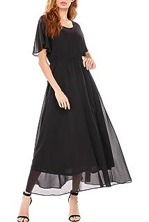 Zeagoo Womens Casual Short Sleeve O Neck Flare Flowy Chiffon Long Maxi Wedding Formal Dress