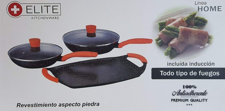 ELITE KITCHENWARE Juego de sartenes y Plancha antiadherentes ...