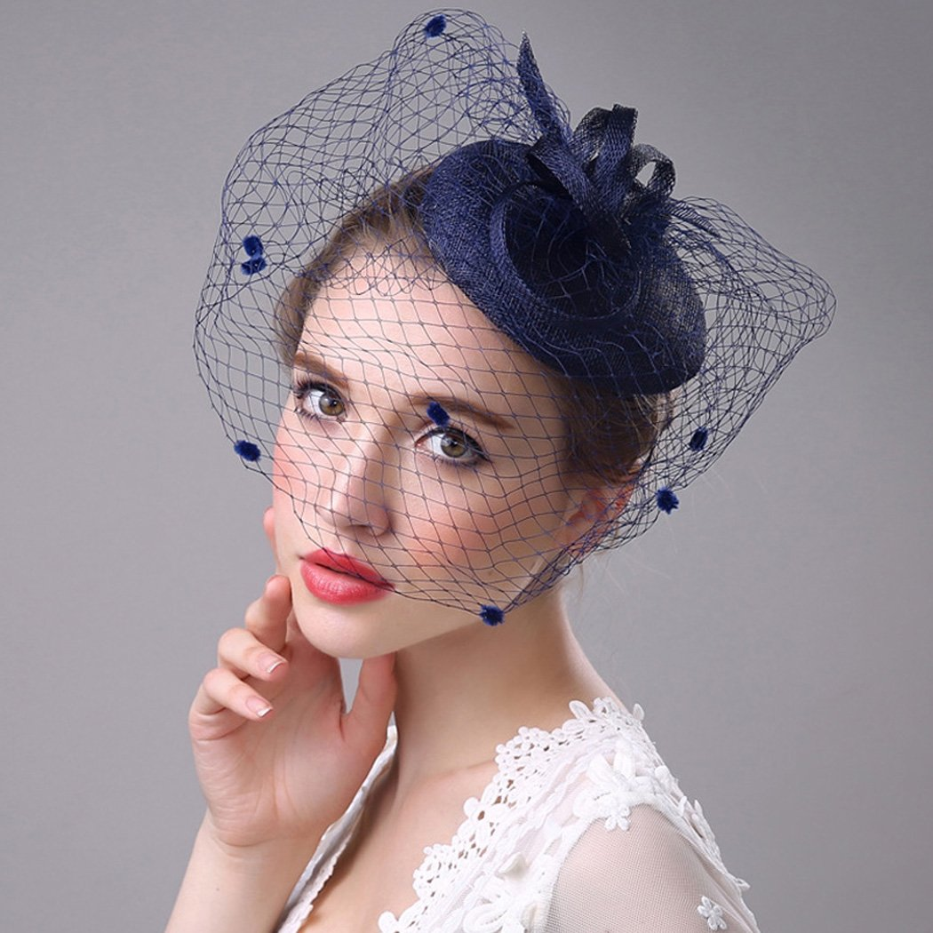 Aukmla Mesh Fascinator Top Hat Billycock Feather Party Hat Derby Hat with Clip