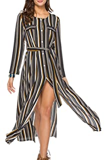 Suvotimo Women Cocktail Dress Slit Stripes Beach Maxi Dresses with Belt