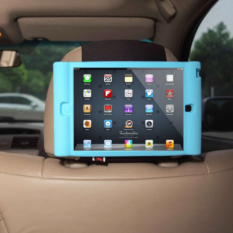 Detachable Lightweight Shockproof Anti-Slip Soft Silicone Handle Case Black TFY Kids Car Headrest Mount Holder for iPad Mini 4