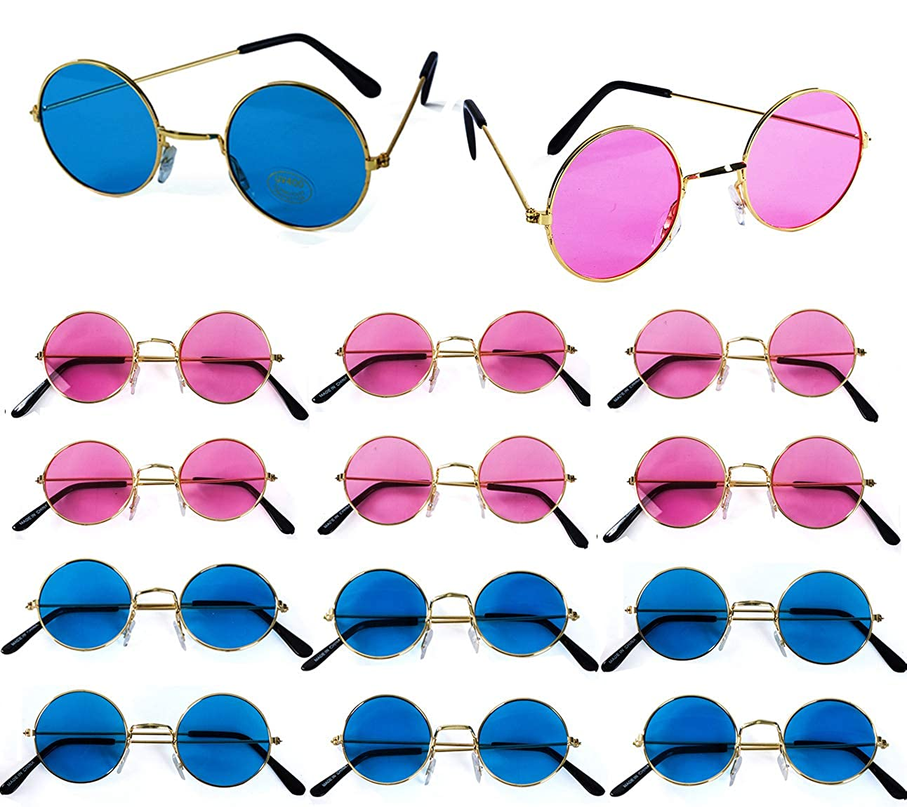 John Lennon Sunglasses – 12 Pack Retro Sunglasses – Costume Accessories - Hippie Party Supplies by Tigerdoe f-tg134