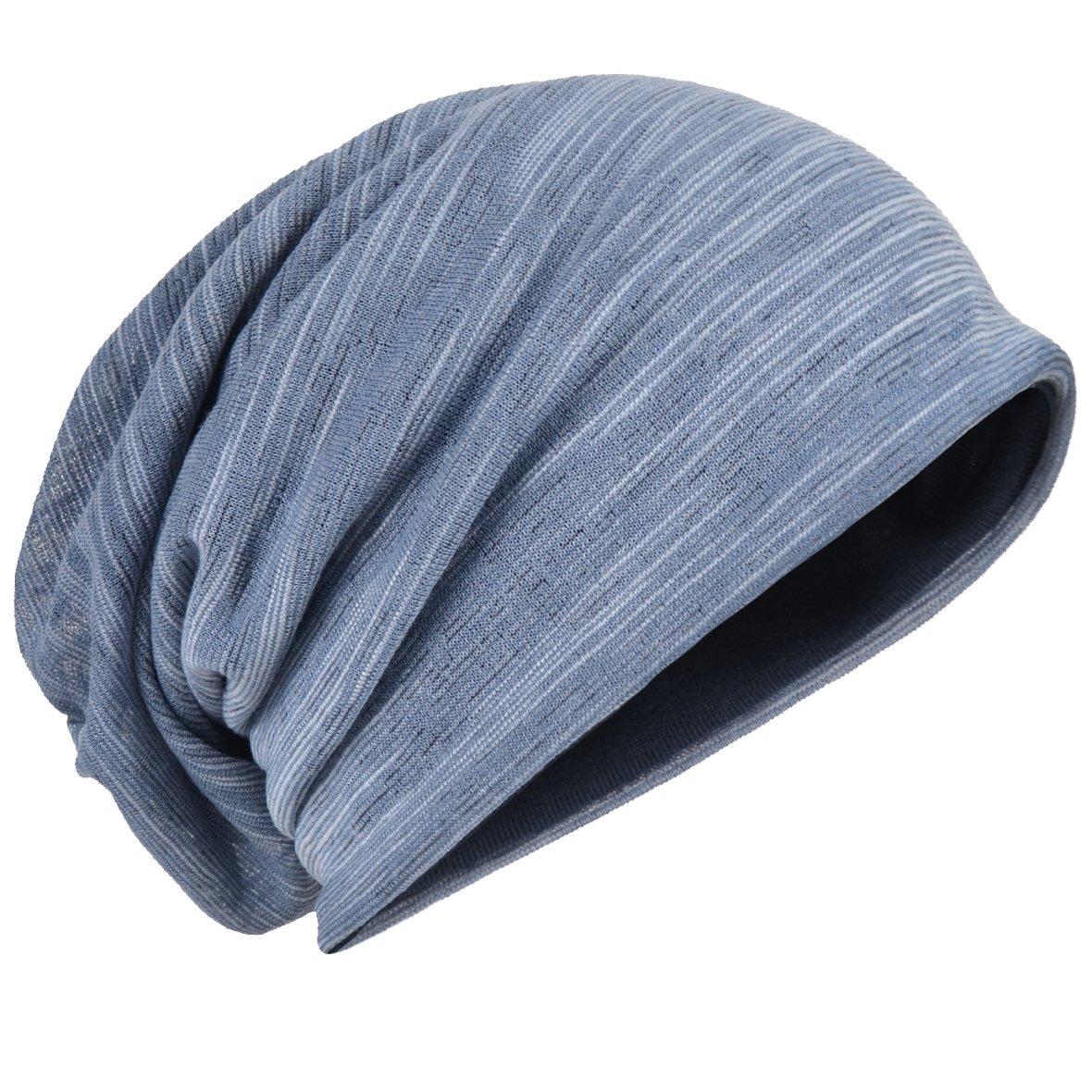 Men Slouch Hollow Beanie Thin Summer Cap Skullcap B011h (Bluish)