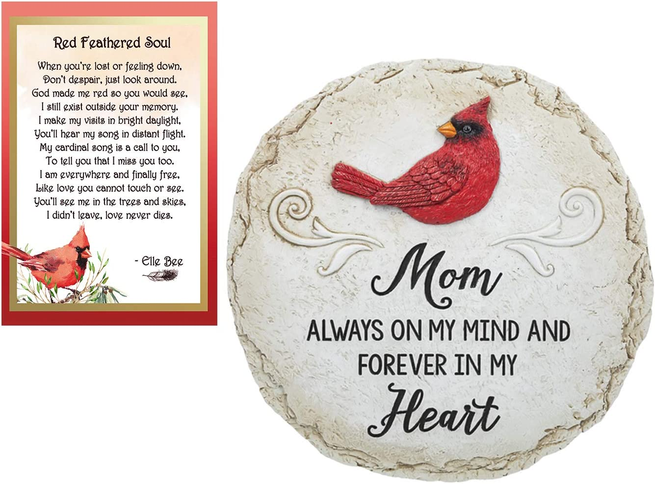 Lola Bella Gifts and Ganz Mom Always on My Mind and Forever in My Heart Cardinal Memorial Stepping Stone with Red Feathered Soul Poem Card Grief Sympathy Memorial Gift