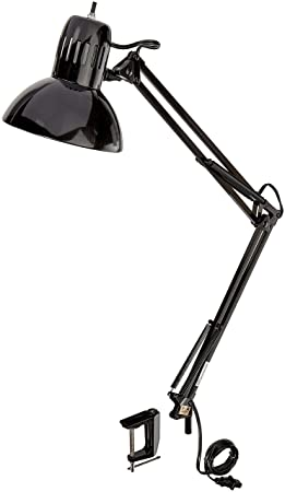 Globe Electric 56963 Swing Arm Lamp With Durable Adjustable Metal Clip,  Black